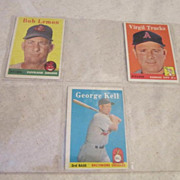 Vintage 1958 Topps Baseball Cards Set of 3