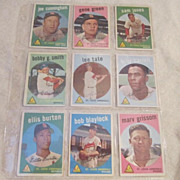 Vintage 1959 Topps Baseball Cards St Louis Cardinals Set of 9