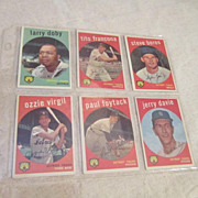 Vintage Topps 1959 Baseball Cards Detroit Tigers 6 Card Set