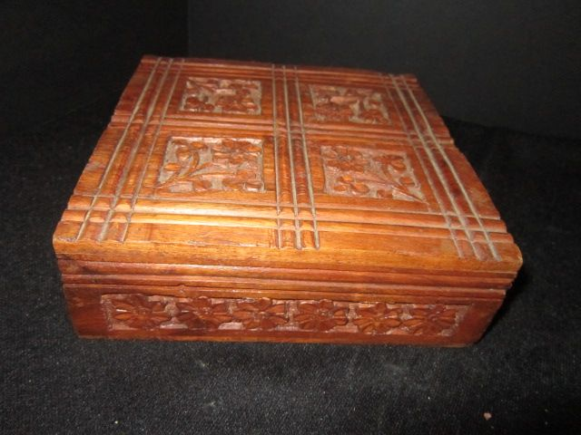 Vintage Hand Carved Wood Trinket Box