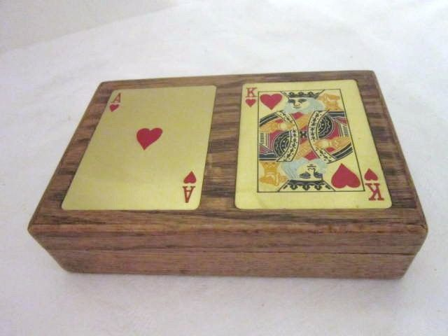 Vintage Wood Playing Card Box