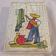 Vintage Signed Hand Painted box Man With a Guitar