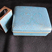 SALE Vintage Cloisonne Lidded box and Match Holder Chinese Circa 1920-1930