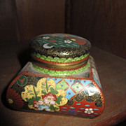 Antique Chinese Cloisonne Ink Well w/ insert