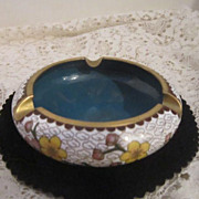 Vintage Cloisonne Ashtray on Carved Stand