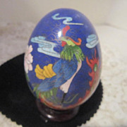 Vintage Cloisonne Egg with Phoenix Bird, Flowers and Clouds