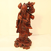Chinese Vintage Wood Carving of Old Man