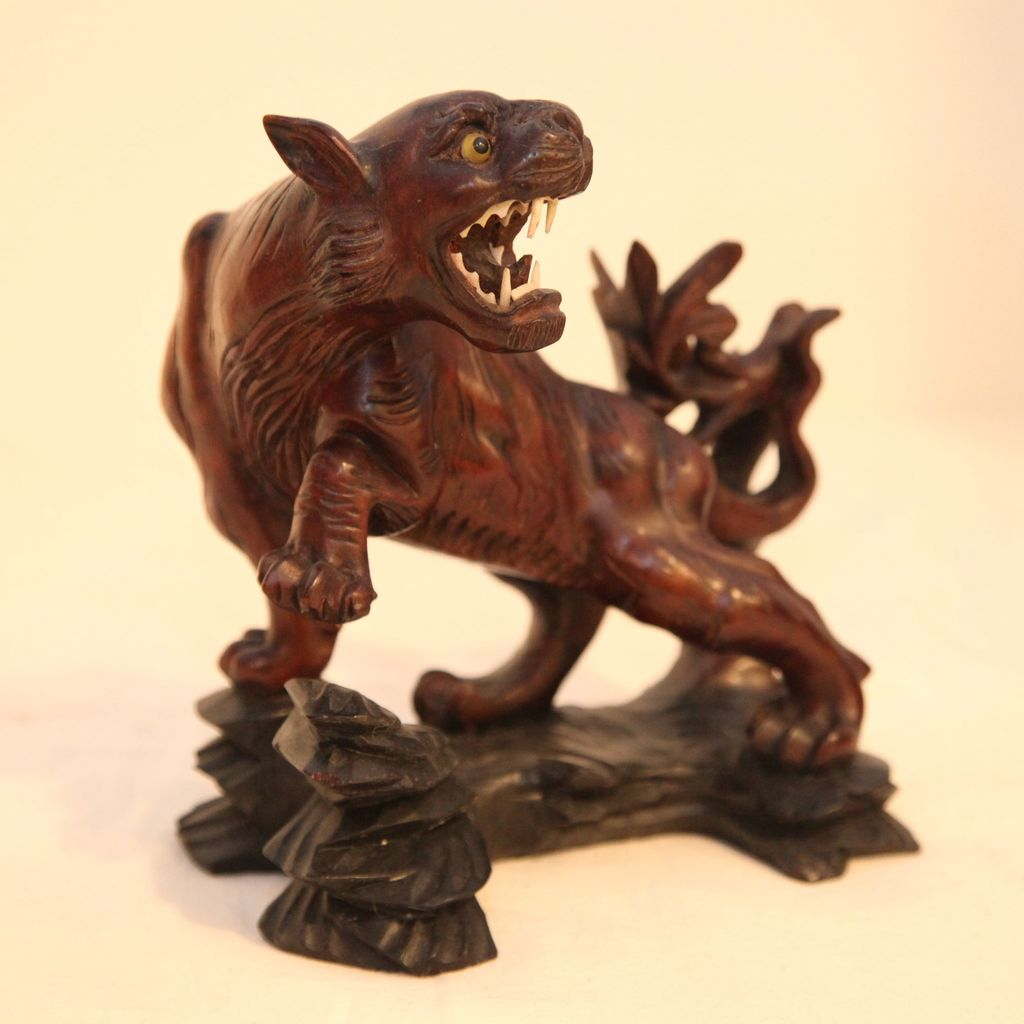 Vintage Hard wood Hand Carved Tiger