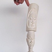 Vintage African Bone Carving Elephant/Woman/Man