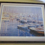 Vintage Limited Edition Lithograph Print &quot;Fisherman's Bay&quot; By Chi-Leung-Yuen