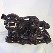 Vintage Chinese Wood Carving of Mother Foo Dog with Young and Ball
