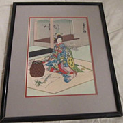 Vintage Japanese Wood Block Print by Sadanobu Hasegawa, &quot;Maiko Girl Doing Flower Arrangem