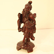 Vintage Chinese Wood Carving of a Fisherman