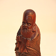 Vintage Japanese Wood Carving of an Old Man By Fukuro Kuju