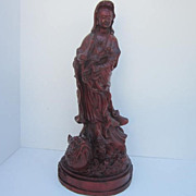 Large Vintage Chinese Wood Carving of a Quan Yin on a fish