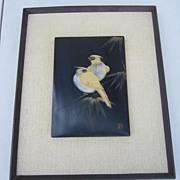 Vintage Oriental Painting of 2 Birds on a Bamboo Shoot