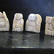 SALE Vintage Carved Netsuke set of 4