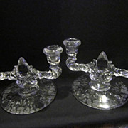 Vintage Pair of Double Fine Glass Candleholders