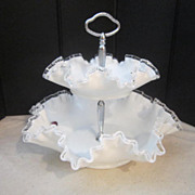 Vintage Fenton Silver Crest Two Tier Ruffled Serving Piece