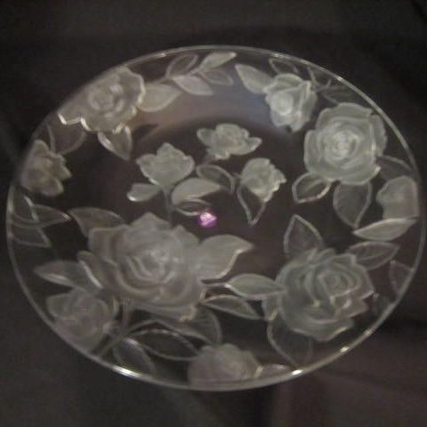 Vintage Rose Parade Crystal Round Serving Platter