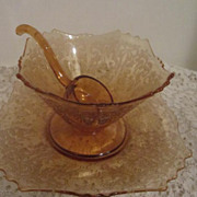 Vintage Elegant Amber Gold 3 Piece Mayonnaise Set (Liner, Bowl & Ladle)