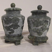 Antique Soapstone Chinese Carved Pair of Lidded & Footed Jars