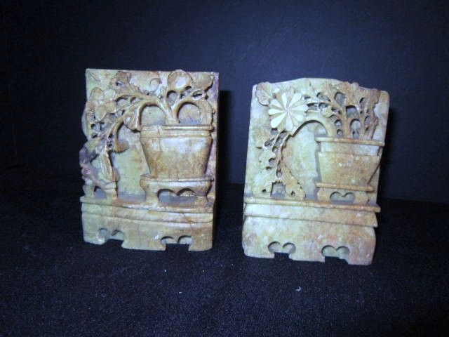 Pair of Hand Carved Soap Stone Book ends