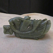 Vintage Jade Carved Mandarin Duck with Flower