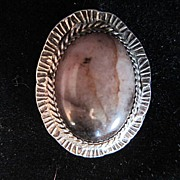 Vintage Brown Stone Pendant in a Sterling Setting