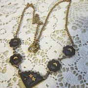 Vintage Japanese Komai Shakudo Drama-scene Jewelry Necklace