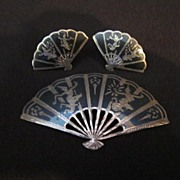 Vintage Siam Fan Pin with matching Screw on earrings