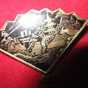 Vintage Japanese Pin  in the shape of a fan
