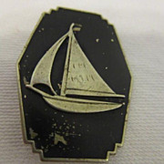 Vintage Black Enamel Pin with Sailboat