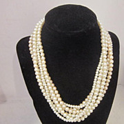 Vintage 6 Strand Faux Pearl Necklace by Gay Boyer