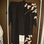 Vintage Japanese Black Kimono With Leaves of Pale Pink & Green
