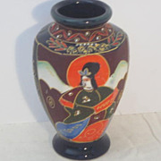Vintage Japanese Satsuma Hand Painted Porcelain Vase