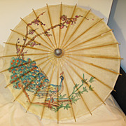 Vintage Oriental Hand Painted Peacock on a Parasol