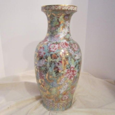 Vintage Porcelain Oriental Vase Multi-flowered with Gold Background