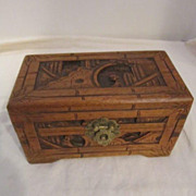 Vintage Hand Carved  Wooden Chinese Box