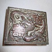 Vintage Small Silver Plated Cigarette Box with Dragon
