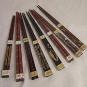 Vintage 8 Pair of Decorated Chop Sticks Never Used
