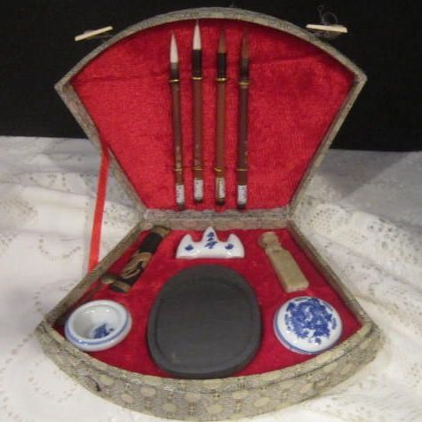 Vintage Chinese Calligraphy Set In Box From