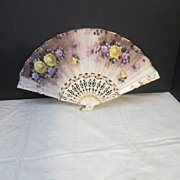 Vintage Double Sided Hand Painted Fan