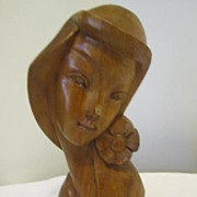 Vintage Wood Carved Young Hawaiian Lady