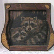 Vintage Charcoal Painting on Wood of Two Raccoons by Donna J. Jacobson