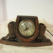 Vintage Carnival Prize Clock with Boots and Horse.