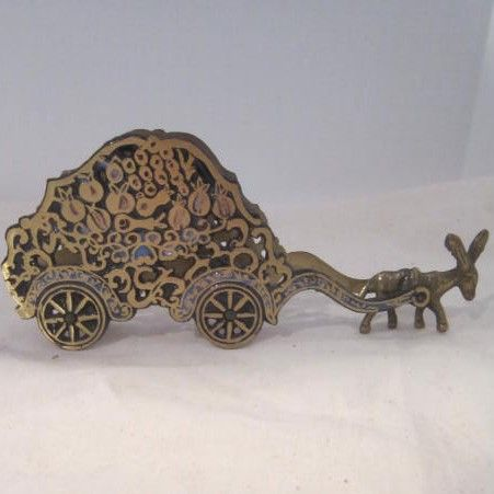 Vintage Brass Letter Holder Donkey Pulling a Cart Marked Israel