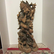 Hindu Wood Sculpture Of Indian God