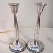 "Vintage Pair of silver Plated Candle Holders has 'K"" within Logo on Bottom"