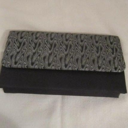 Vintage Whiting and Davis International Classic Black & Silver Clutch Bag